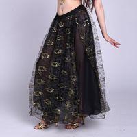 Belly dance skirt placketing quality costume bottoms gold yarn roll-up hem skirt