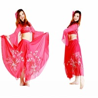 Belly dance set indian dance quality embroidered flare sleeve top embroidered dress