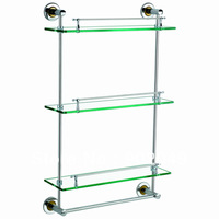 Discount Bathroom Accessories KL-GT703B Triple Tier with bar(50cm) Commodity Shelf Glass Stainless Steel Tray Discount hot sell