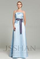 12B009 Strapless Pleated Sash Matte Satin Elegant Gorgeous Luxury Formal Prom Bridesmaid Dress