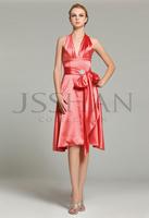 12B006 V-Neck Halter Sash Satin Knee-Length Elegant Gorgeous Luxury Wedding Bridesmaid Dress