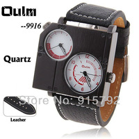 Oulm Brand Best Men's Quartz Military Wrist Watch Dual Movt Square Case White Dial Genuine Leather Band  Wholesale Price A252