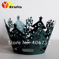 Fast Shipping 12pcs/pack christmas tree lace cupcake wrappers indian wedding decorations art & collectible(mix orders,colors)