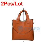 2Pcs/lot New Arrival Fashion Ladies' Vintage  Tote PU Leather Handbag Shopping Shoulder Bag Adjustable Handle 2436