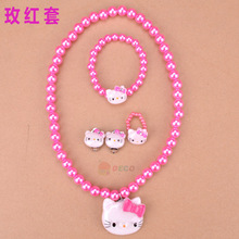 Free shipping,Hello kitty New Kids Necklace+rings+Bracelet+ earrings Set/Jewelry Accessories Set for women/ Fashion (ss-5030)(China (Mainland))