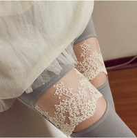 2012 autumn lace decoration knee jack purcell ankle length trousers legging