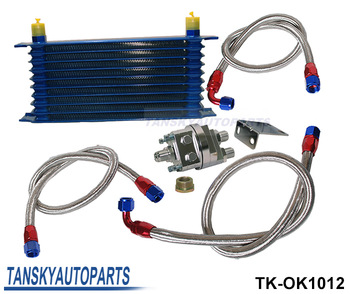 Tansk y - UNIVERSAL 10 ROW OIL COOLER KIT WITH OIL FILTER RELOCATION KIT FOR TURBO RACE  TK-OK1012