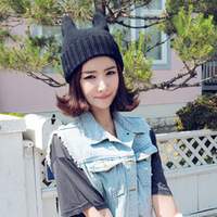 Free Shipping Knitted hat/ female/ autumn and winter/ cat ears hat