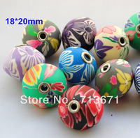 50pcs/Lot, Free Shipping Good Quality Assorted Colors 18*20mm UFO Shaped Polymer Clay Beads