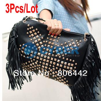 3Pcs/Lot Women's Fashion PU Leather Rivet Shoulder Bag Popular Punk Cross-body Bag Black  8267