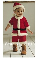 Christmas suits,Hat + Coat + Pants,Baby Christmas Costume,Santa Baby,Santa Clause,Childrens Xmas Outfits Free shipping
