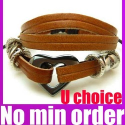 8 Styles U Choice Braided Leather Bracelet Leather Charm Bracelet (>10$ Free Shipping,Can mix)(China (Mainland))