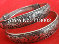 Pair Of Fine Tibetan Silver Dragon With Sun Bracelet Bangle