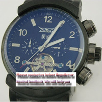 Cool ! men's Automatic Army military style Flying tourbillon 6Hands Mechanic wrist watches men/ big button +Multifunction