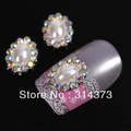 100PCS/LOT Edge Bling AB Rhinestones 3D Alloy Oval Ivory Faux Pearl Beads Nail Art Tips Salon Phone DIY Design Decoration