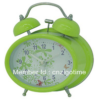 oval type metal quartz alarm clock
