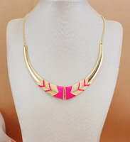 Free Shipping~~2014 Jewelry Newest&Hottest Fashion Metal 18KGP Neon Color Chunky Choker Necklace Gold Chain N162