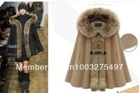2012 Luxury Woman's Mink Fur Collar Cape Hooded Poncho Cloak Outwear Jacket mantle Coat S-XXL
