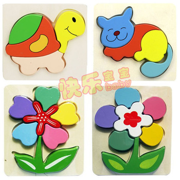 Free Toy gift Village 3d Wooden Puzzle three-dimensional thickening Animals Flower Puzzle Educational game Toys for children