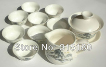 Promotion Ceramic Kungfu Tea Set White Porcelain Tureen Suit With 8 Cups Wholesale and Retail Free