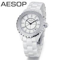 white ceramic fashion wristwatch rhinestone diamond ring dial with sapphire glass women's watch free shioppingHOT