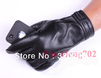 Mens Genuine Leather Lambskin Winter Warm Driving Riding Wrist Gloves Black M-2