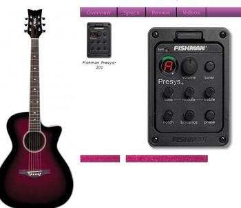 Fishman Presys-201, Fishman PRESYS+ Onboard Guitar Preamp/EQ w/Tuner, Sonicore Undersaddle Pickup