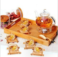 Free shipping hot sale top quality heat resistant black tea glass tea set suit  food grade glass material tea cup