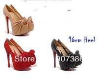 anniversary 2012 brand new fashion womens dress shoes 16cm high heeled,suede&sheepskin pleated open peep toe platform pumps