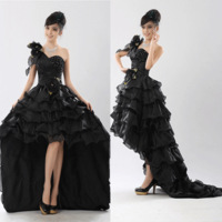 Free Shipping Newest Arrive Style Sweet Clothes Fashion Low-high Evening Dress