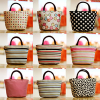 free shipping 2013 hot sale new fashion small canvas bag women lunch box oxford tote handbag bags plaid flower designer