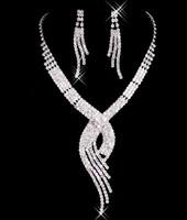 Shining Rhinestone Leaf Style Bridal Accessory Wedding Jewelry Set, Including Necklace And Earrings Wholesale