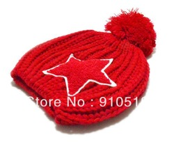 Winter Children Hat Five-pointed Star Cotton Ball Kids Knitted Caps Best For Gift Free Shipping,N24(China (Mainland))