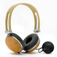 """Stereo Headphones """"Woody"""" - Wood, Separate Microphone"""