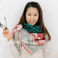 Free shipping Women&#39;s scarf autumn and winter christmas deer scarf thermal muffler scarf knitted ultra long yarn cape
