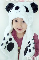 Free Shipping 2012 New lovely Style 1 pcs New Polar Bear Mascot Fancy Costume Fashion Plush winter animal Hat scarf Gloves