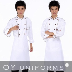 Free Shipping (10 pcs/lot) Discount chef uniform for hotels & restaurants, chefs work wear for cooking with apron & hat(China (Mainland))