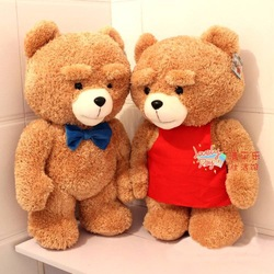 Fashion Plush Teddy Bear Movie Soft Toys Girlfriend Birthday Gifts Xmas Thanksgiving Presents 35cm Blue Bowknot or Red Apron(China (Mainland))