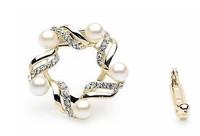 Korea high-grade alloy crystal  ribbon scarf buckle brooch dual-purpose pearl corsage