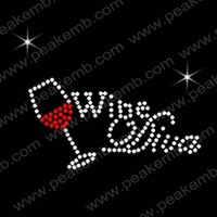 Free Shipping 50pcs/Lot  Crystal Letters Wines Diva Rhinestone Transfers Motif Custom Design Available