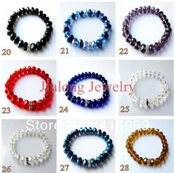 Free Shipping Wholesale for Charm Thomas Beads Crystal Glass Bracelet Chain Jewelry . B0001(China (Mainland))