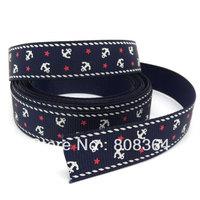 "Free shipping 5 Yards Navy Blue Anchor&Star 5/8"" Wide Wedding Craft Printed Grosgrain Ribbon (W02033X1)"