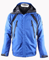 Free Shipping Mens 3 layer seam sealed waterproof 2in1 jacket with removeable fleece jacket