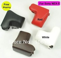 wholesales colorful Leather Camera Case bag for SONY NEX-5 NEX5 NEX5N 18-55mm Lens free shipping