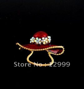 Merry Christmas Gift free shipping by DHL crystal gold plated red hat shaped delicate design copper Christmas brooch