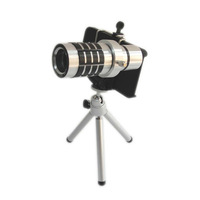 YY-1252,for iPhone 4 4S ,New 12X Zoom Optical Lens Phone Telescope Camera Lens with Tripod and case , FREE SHIPPING