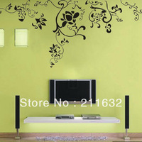 Free Shipping Self-Adhesive Cool Branch Flower Home Decor Wall Sticker 18 Colors to Chose , Wholesale & Retail