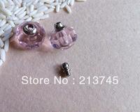 Freeshipping Pink Glass Vial Pendant Micro Beads Pendant Screw Cap rice art pendant Pefume  pendant