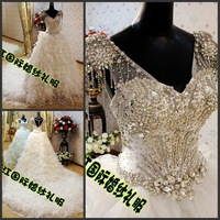 Free Shipping 2012 royal princess strap tube top bride train wedding dress xj00119