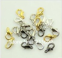 Free Shipping-12*6mm 200pcs/lot (black/antique brass/ Silver/Gold/Nickel) lobster clasps Metal clasps Jewelry Components